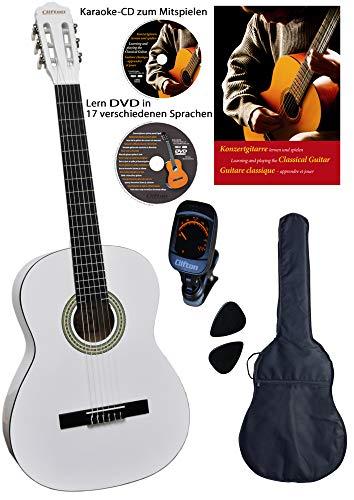 CLIFTON Konzertgitarre 4 4, White,...